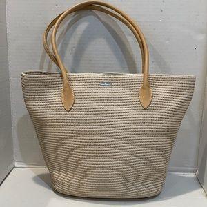 Eric Javits Striped White / Tan Tote Bag
